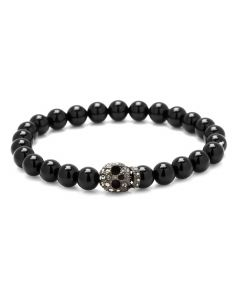 Onyx Beaded and Crystal Skull Bracelet