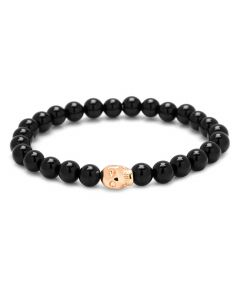 Onyx Beaded and Rose Gold Skull Bracelet
