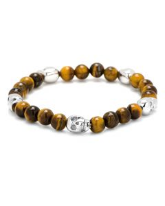 Tigerseye Beaded Five Skulls Bracelet