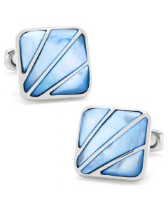 Deco Fan Blue Mother of Pearl Cufflinks