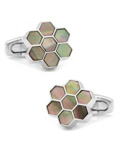 Honeycomb Gray Mother of Pearl Cufflinks
