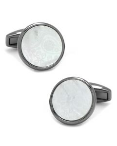 Paisley Gunmetal and Mother of Pearl Cufflinks