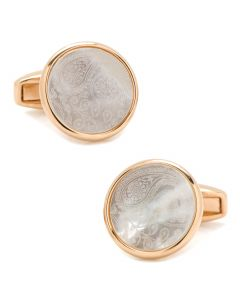 Paisley Rose Gold and Mother of Pearl Cufflinks