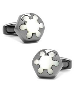 Radial Mother of Pearl and Gunmetal Cufflinks