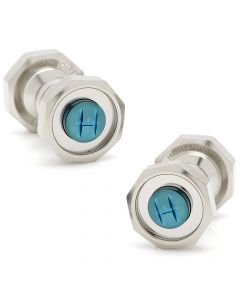 Octagonal Polished Chrome and Blue Cufflinks