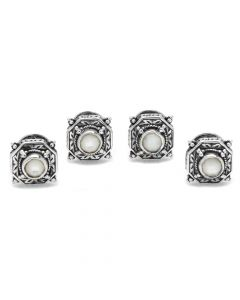 Sterling Silver and Mother of Pearl Tuxedo Studs