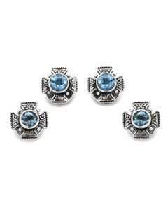 Sterling Maltese Cross Round Cut Blue Topaz Studs