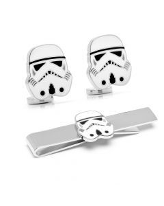 Stormtrooper Cufflinks and Tie Bar Gift Set