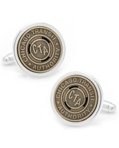 Chicago Transit Token Cufflinks, Silver Plated