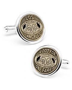 Los Angeles Transit Token Cufflinks, Silver Plated