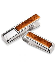 Rhodium and Bubinga Wood Money Clip