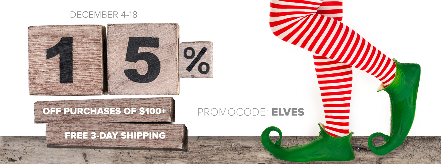 15% off $100 or more + Free 3-Day Shopping with code ELVES