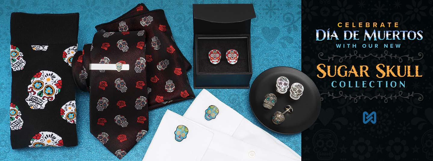 New Sugar Skull Tie, Pocket Square, Socks perfect for Day of the Dead