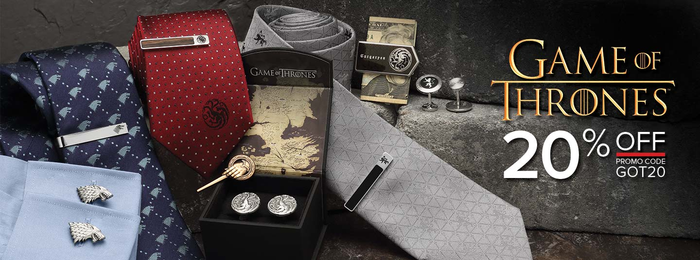 20% off Game of Thrones Accessories | Officially licensed cufflinks, money clips, tie bars, and Neckties