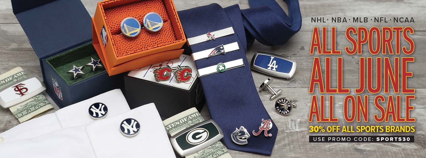 30% off MLB, NCAA, NBA, NFL, NHL accessories for the month of June